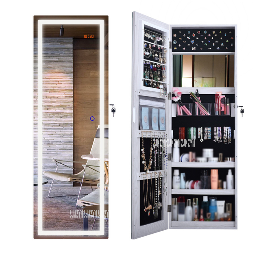QH-6139 Multifunctional Pier Glass Cabinet With Led Floor Type Full-Length Mirror Cabinet Intelligent Jewelry Armoire Cabinet