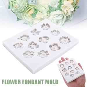 Image 4 - Molde de silicona para Fondant de 11 agujeros, molde para pastel de flores DIY, molde para pastel de azúcar de Chocolate, herramienta de decoración reutilizable para hornear en la cocina