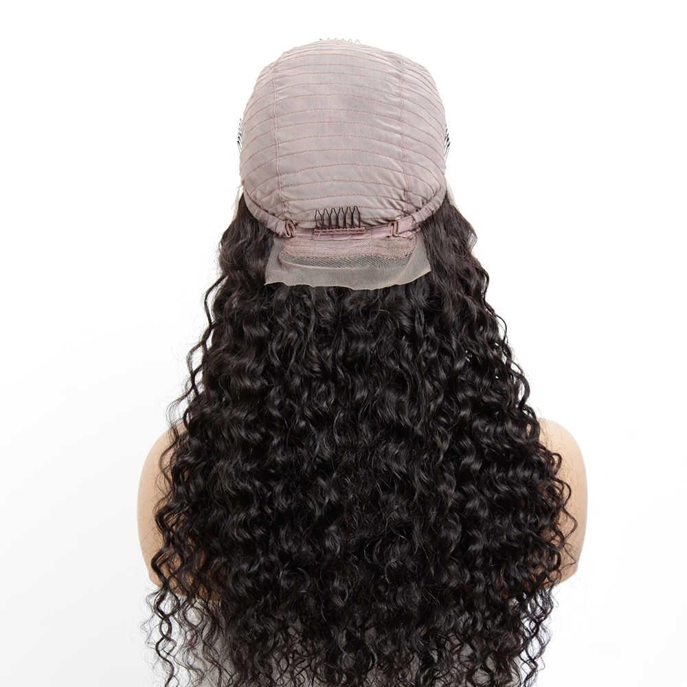"""Малазийские 13x4 парики на шнурках спереди предварительно сорванные бразильские волосы Remy волна воды бесклеевая короткие человеческие волосы парики для черных женщин 8 """"26 дюймов африканские женские парик с челкой фр"""