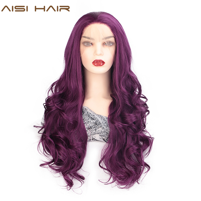 AISI HAIR Purple Long Wavy Wig Synthetic Lace Front Wigs for Black Women Natural Part Heat Resistant Fiber Wig