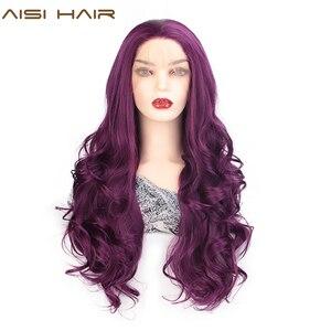 Image 1 - AISI saç siyah uzun dalgalı peruk sentetik dantel ön peruk siyah kadınlar için doğal kısmı ısıya dayanıklı iplik peruk