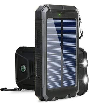 20000mAh High-Capacity Solar Power Bank with Polycrystalline Solar Panel and Dual LED Light