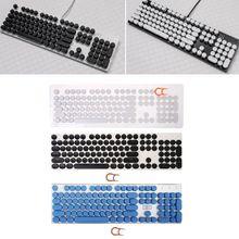 1 Set 104 Keys Retro Round Keycaps Double Shot DIY Steam Punk Steampunk Typewriter Keycaps for Backlit Classy Player Stylized