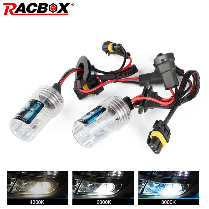 RACBOX 55W HID Xenon Single Bulb Lamp 12v For Headlight Conversion H1 H3 H4-1 H7 H8/H9/H11 HB3 HB4 9005 9006 4300k 6000k 8000K