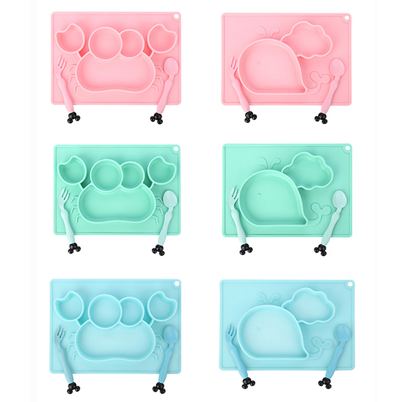 3Pcs/Set Baby Silicone Dining Dishes Cartoon Whale Crab Toddler Tableware Children Feeding Bowl Spoon Fork Kids Anti-fall Plate