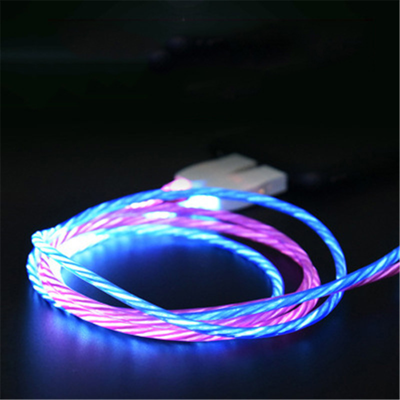 LED Luminous Charging Cable For Huawei Honor Note 10 Xiaomi Mi 8 Max 3 HTC Micro USB Type C Mobile Phone Charger Flowing Cable in Mobile Phone Chargers from Cellphones Telecommunications