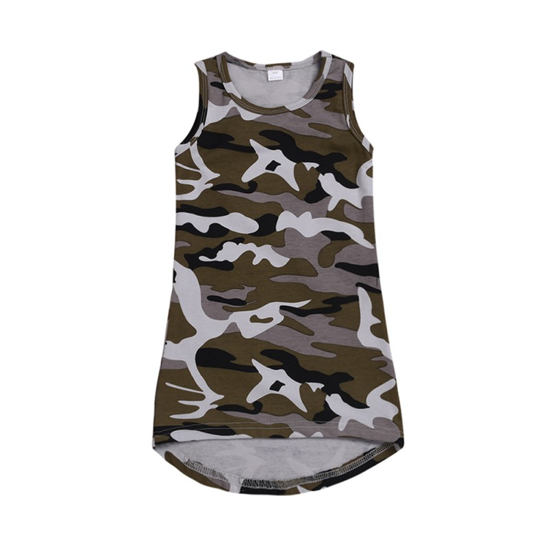 Impressão 1 6T O pescoço de Algodão Padrão de Camuflagem Impressão T shirt Sem Mangas Colete Vestido de Verão Casuais Meninas Do Bebê Crianças Criança vestido de verão - 2