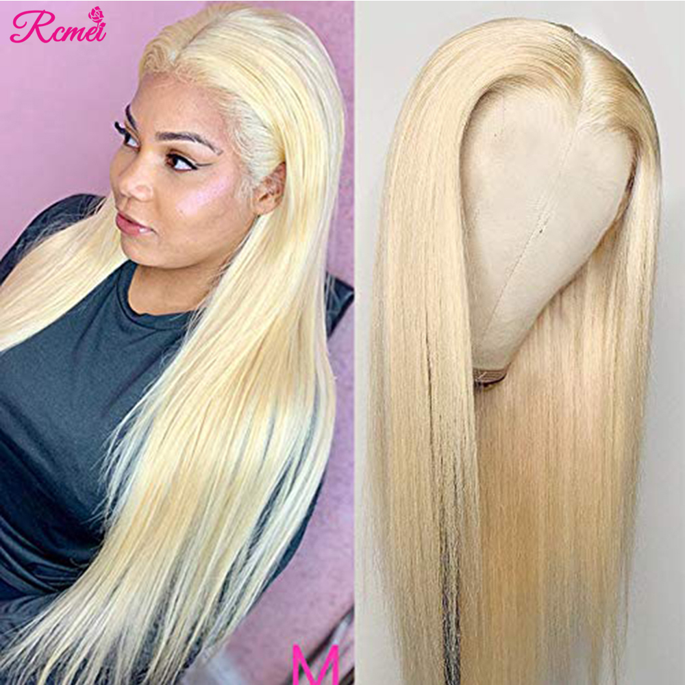 Middle Part Glueless 613 Human Hair Wig Honey Blonde Lace Front Wig Brazilian Straight Lace Part Pre Plucked 13x1 Lace Remy 150