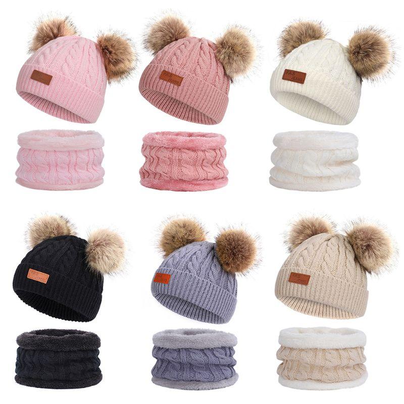 Kids Winter Beanie Hat Infinity Scarf Set Cute Fluffy Pompom Cap Neck Warmer LX9E