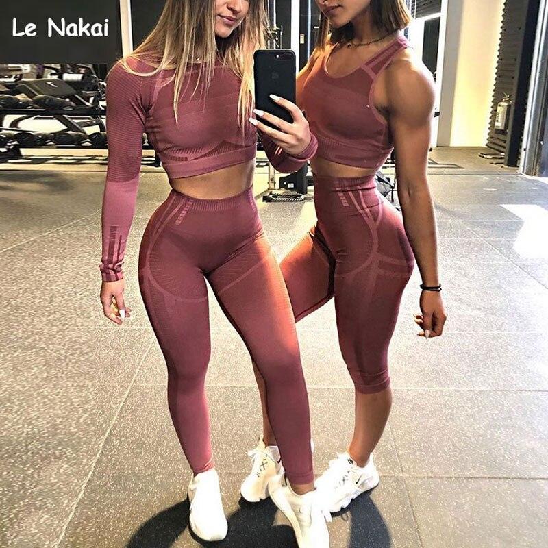 2 Pcs Sports Sets Geo Seamless Long Sleeve Crop Top Workout Yoga Set For Women Fitness Gym Suit High Waist Seamless Leggin Sets