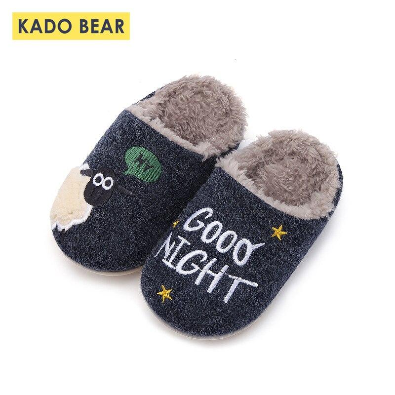 Baby Cartoon Sheep Toddler Boy Indoor Home Winter Knit Slippers Kids Girl Cartoon Cute Fur Plush Warm Children Soft Velvet Shoes