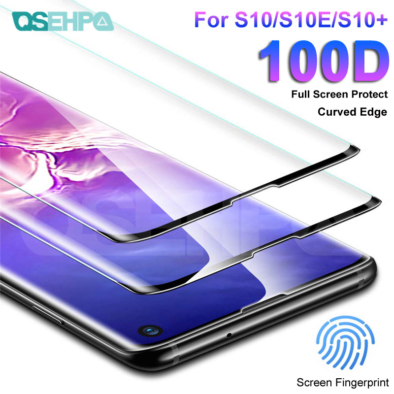 100D Full Cover Tempered Glass For Samsung Galaxy S10 S9 S8 Plus S7 Edge Glass Note 10 Pro 9 8 Screen Protector Glass Film Case