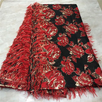 2019 High Quality African Laces Fabrics/French Net Embroidery Red Flowers Tulle Lace Fabric French Lace stones Fabric 2l3082-699