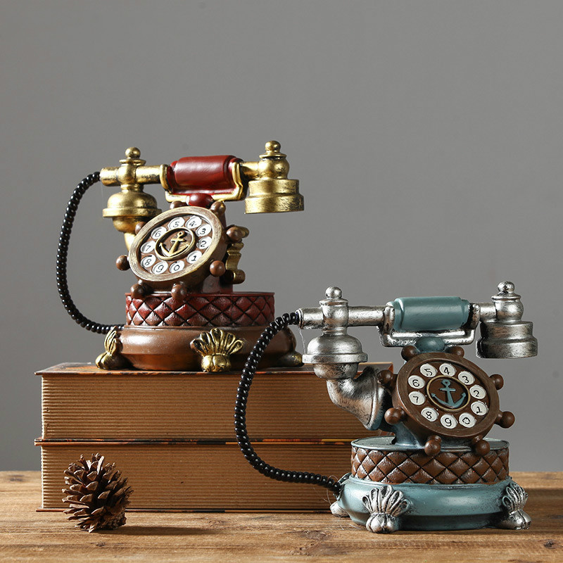 Shabby Chic Vintage Book Phone Piggy Bank Home Decor Ornaments Retro Furniture Figurines Phone Miniatures Home Decoration Crafts
