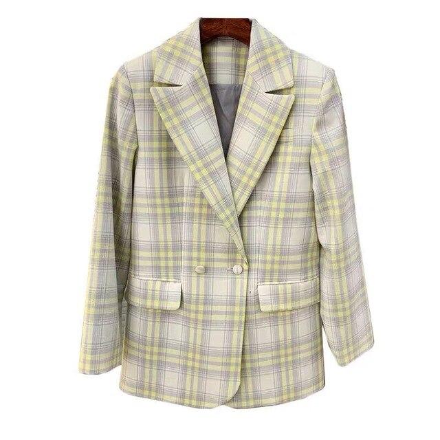 Femmes manteau 2019 automne et hiver mignon jaune grand Plaid laine costume