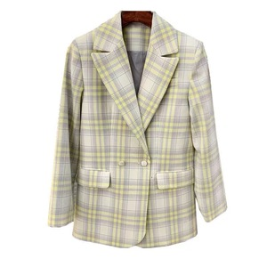 Image 1 - Women Coat 2019 Autumn and Winter Cute Yellow Large Plaid Wool Suit