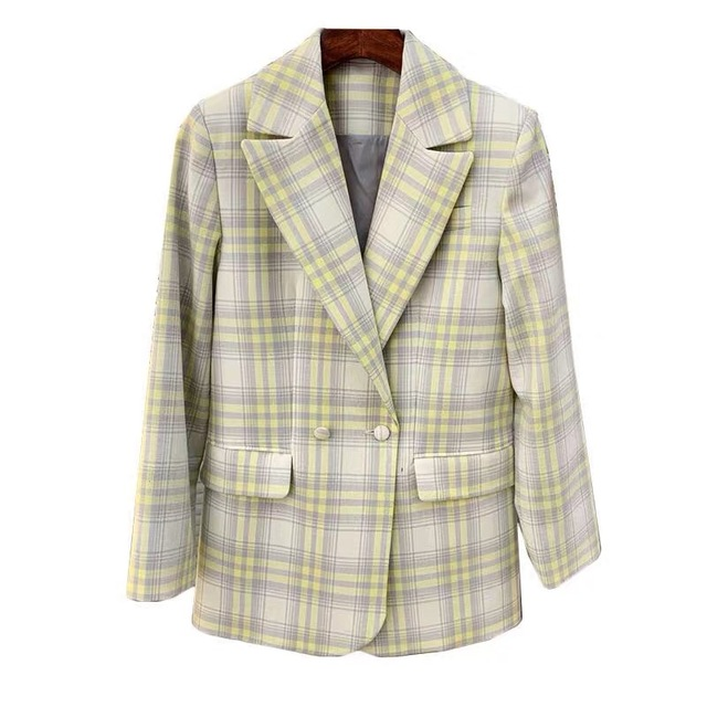 Women Coat 2019 Autumn and Winter Cute Yellow Large Plaid Wool Suit