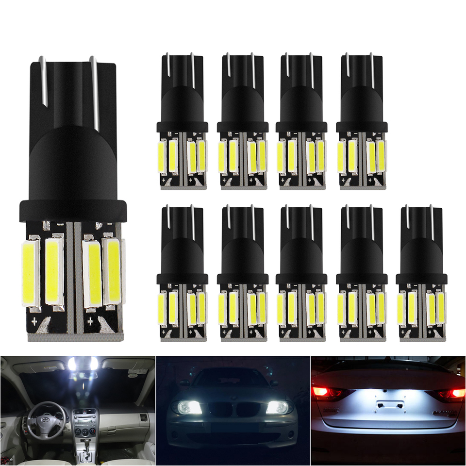 Set 10x T10 501 194 W5W 7020SMD LED Car CANBUS Error Free Wedge Light Bulb White