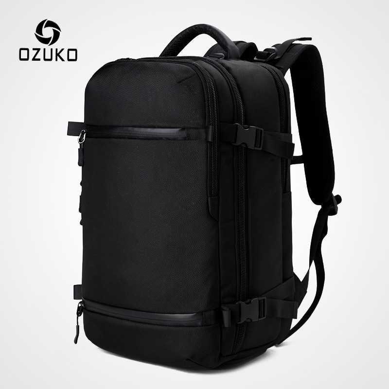 "OZUKO New Men Backpack for 15""17"" Laptop Backpacks Water Repellent Multifunction Bag USB Charging Travel Backpack Large Mochila"
