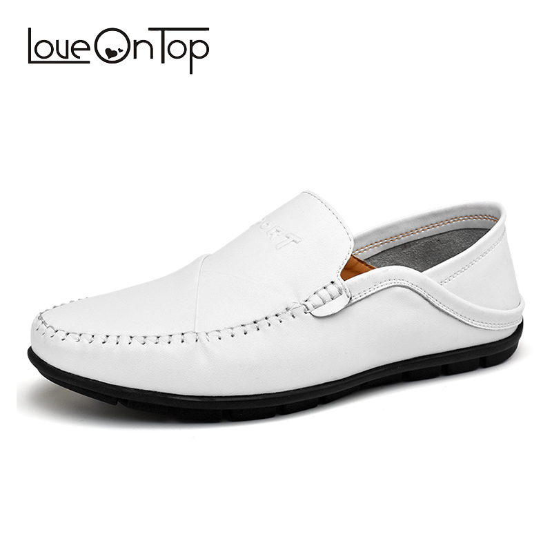 Men's Loafers White Split Leather Soft  Moccasins Driving Shoes Man Casual Slip-on Male Shoes Comfortable Lightweight