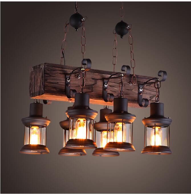 Vintage Loft Pendant Light Wrought Iron Glass Shade Pendant Lamp Kitchen Light Hanging Ceiling Lamp abajour Pendant Lights     - title=