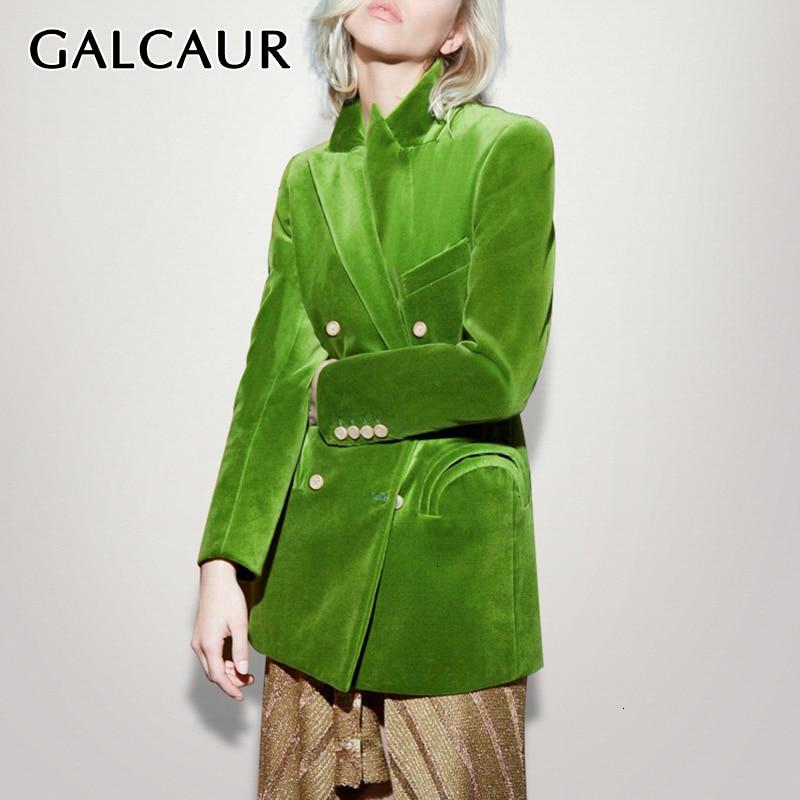 GALCAUR Green Flocking Women's Blazer Notched Long Sleeve Asymmetrical Elegant Autumn Female Suits Clothing Fashion Tide 2019