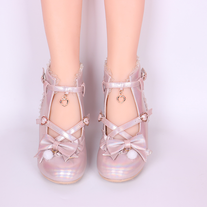 Japanese Sweet Lolita Shoes Vintage Round Head High-top Women Shoes Cute Lace Bowknot Cross Strap Kawaii Shoes Loli Cosplay
