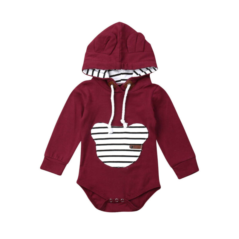0 24M Newborn Infant Baby Boy Girl Autumn Clothes Solid Color Long Sleeve Hooded Romper Jumpsuit Playsuit Tops Clothing Outfits in Bodysuits from Mother Kids