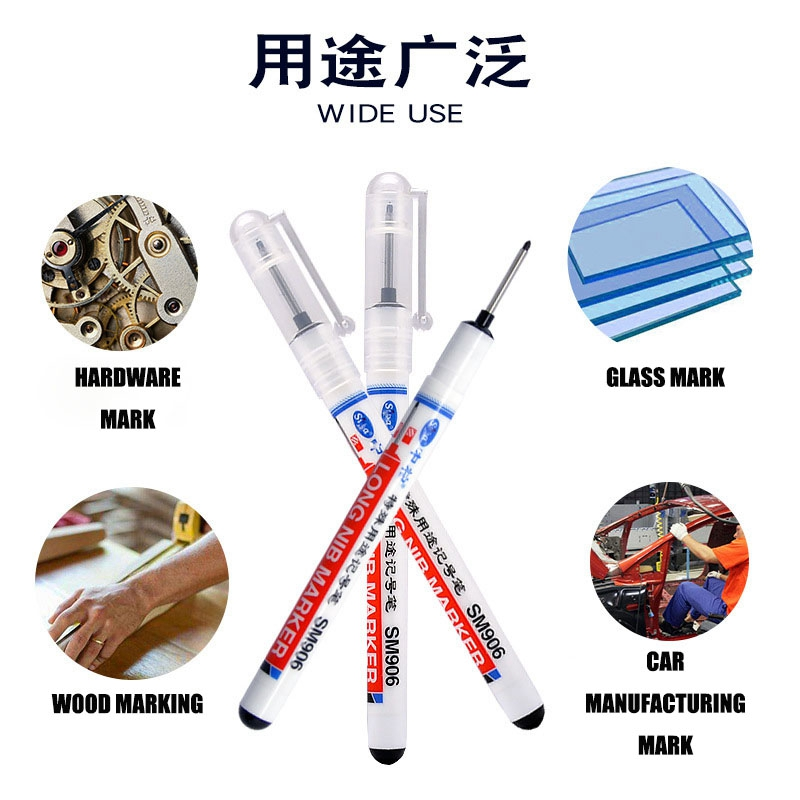 20mm Deep Hole Long Nib Marker Pens Multi-function Depth Marker Home Decoration Paper Metal Glass Cotton Leather Goods Mark