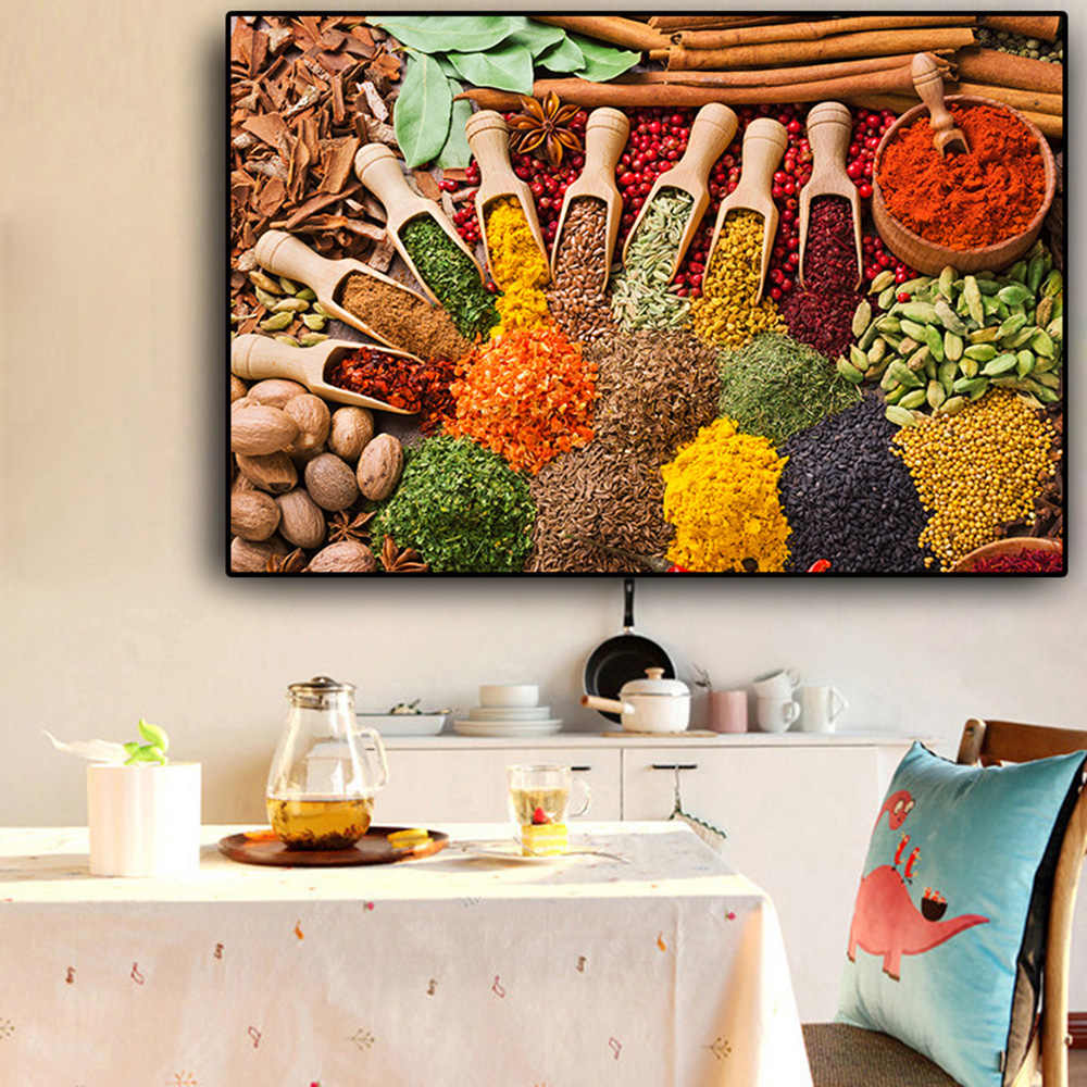 Wall Art Grains Spices Spoon Kitchen Food Canvas Painting Posters and Prints Wall Art Picture For Living Room Home Decorative