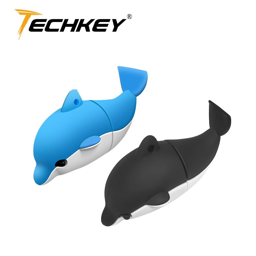 2018 New Pendrive 32gb Techkey флешка Memory Stick 8gb 16gb Cute Dolphin USB Flash Drive 64gb Animal Hot Selling Stick