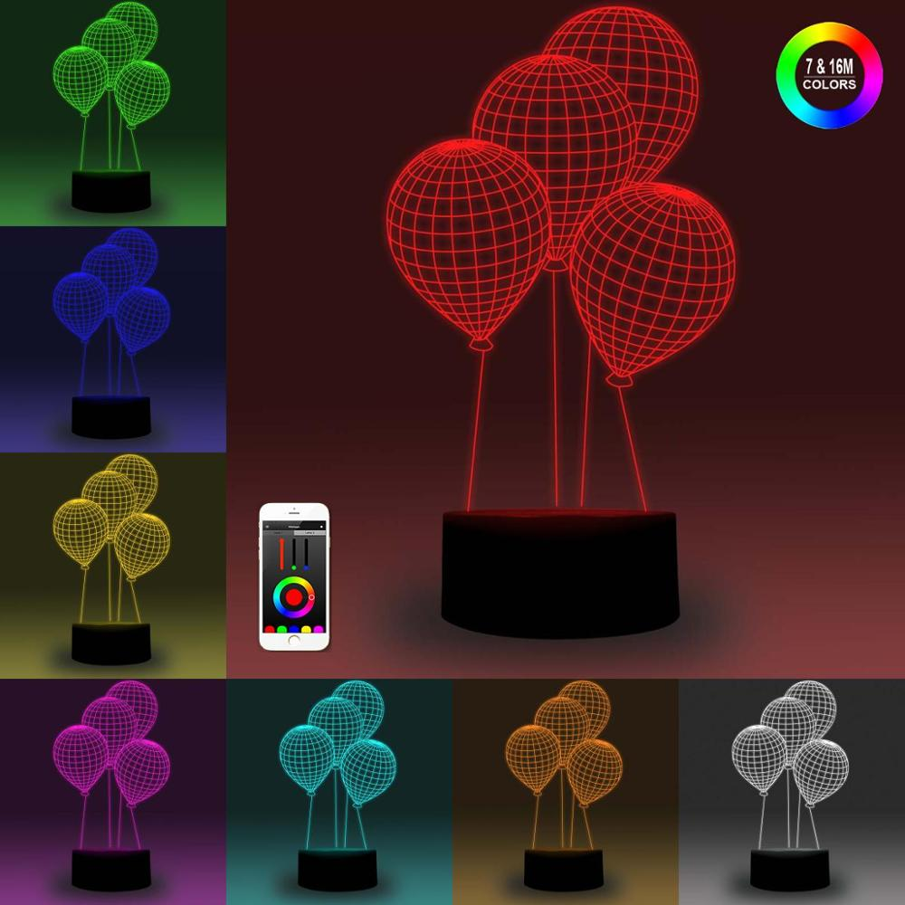 NiteApps 3D Balloons Night Light Desk Table Illusion Decoration Lamp Holiday Birthday Gift APP/Touch Control