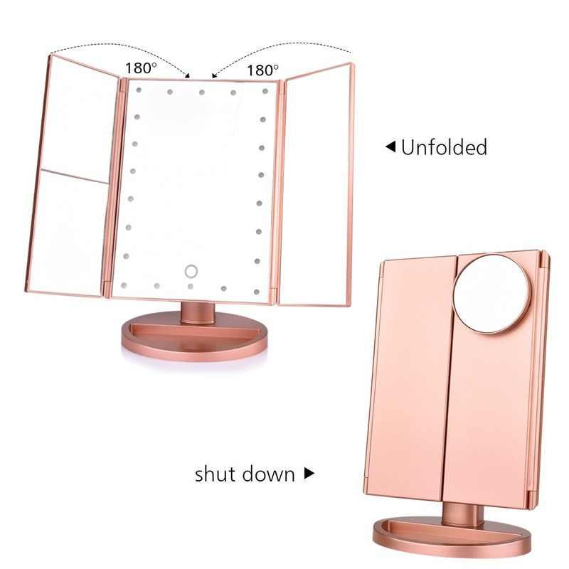 חם 22 אור מגע מסך LED איפור מראה שולחן שולחן העבודה יהירות 1X/2X/3X/10X מגדלת מראות 3 מתקפל מתכוונן מראה