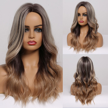 EASIHAIR Long Ombre Grey Brown Wavy Wigs Hightlight Natural Middle Part Synthetic Wig for Women Cosplay Heat Resistant Hair - discount item  50% OFF Synthetic Hair