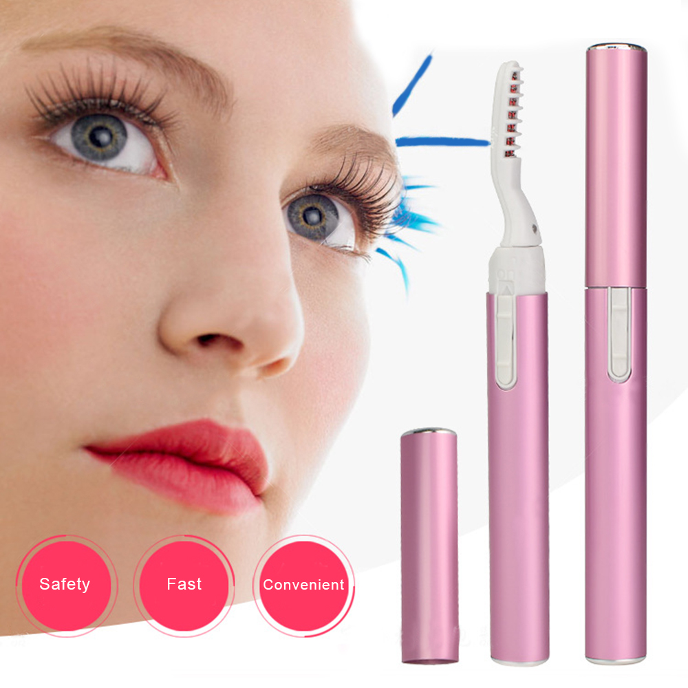 Pink Purple Portable Electric Heated Eyelash Curler With Eyelashes Brush Pen Shape Head Mascara Long Lasting Curling Makeup Tool