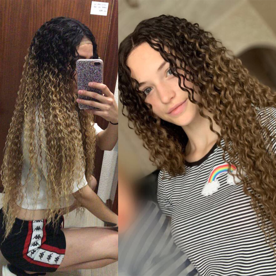 Kinky Curly Long Wigs 96CM Lace Front Synthetic Wigs For Black Women Middle Part Soft Ombre Blonde Wig Heat Resistant Fiber Hair
