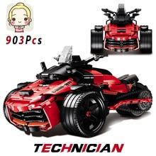 903 pçs nova moto blocos de construção tijolos super velocidade quatro rodas moto mini modelo presentes brinquedos para crianças veículos técnica carros