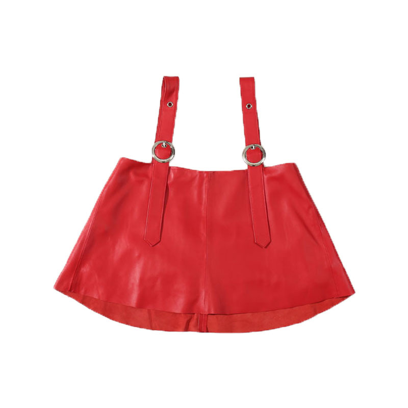 2020 Autumn New Short Leather Camisole Vest Outside Wearing A Strap Skirt Vest Outside Real Leather Jacket  Jacket Women