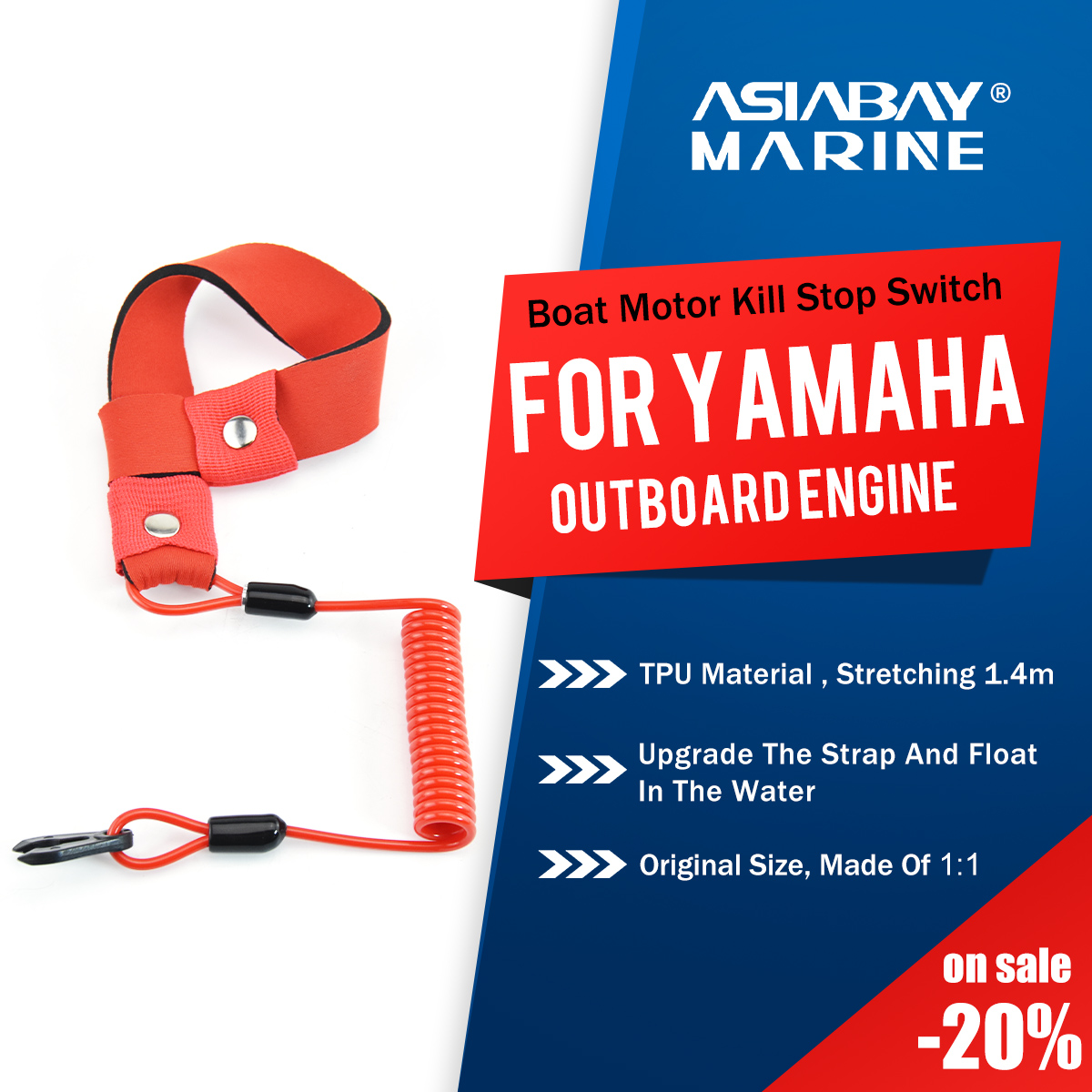 Yamaha Marine Outboard Engine Boat Motor Kill Stop Switch For 2-425hp Key Rope Safety Lanyard Tether