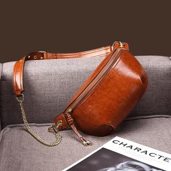 Leather shoulder bags fanny pack for women waist bag Designer women Fashion purse chest bag Vintage Waist Pack female Belt Bags
