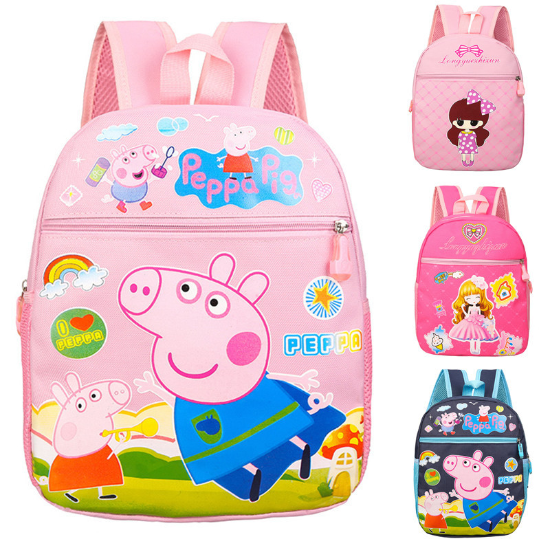Children School Backpack Peppa Pig Bookbag Girl Knapsack Cute Cartoon Print Satchel Kid Kindergarten Toddler Student School Bag