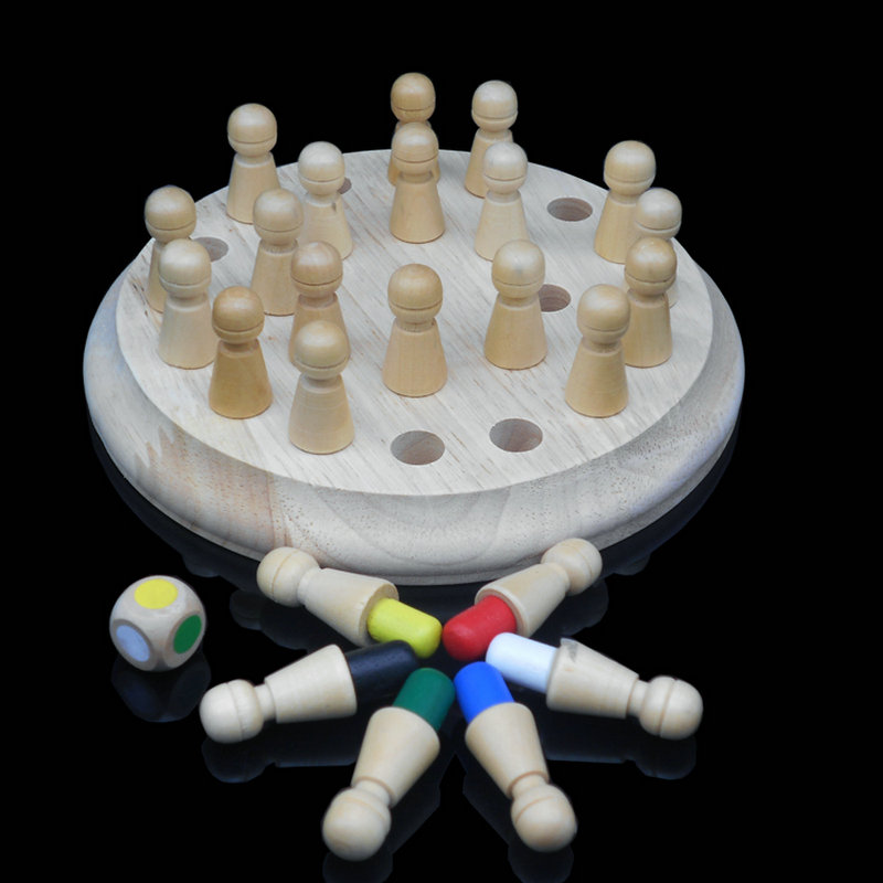 Free Shipping Children Wooden Six Colors Memory Chess Toys Games Kids Classic Intelligence Educational Supplies Table Game Toys
