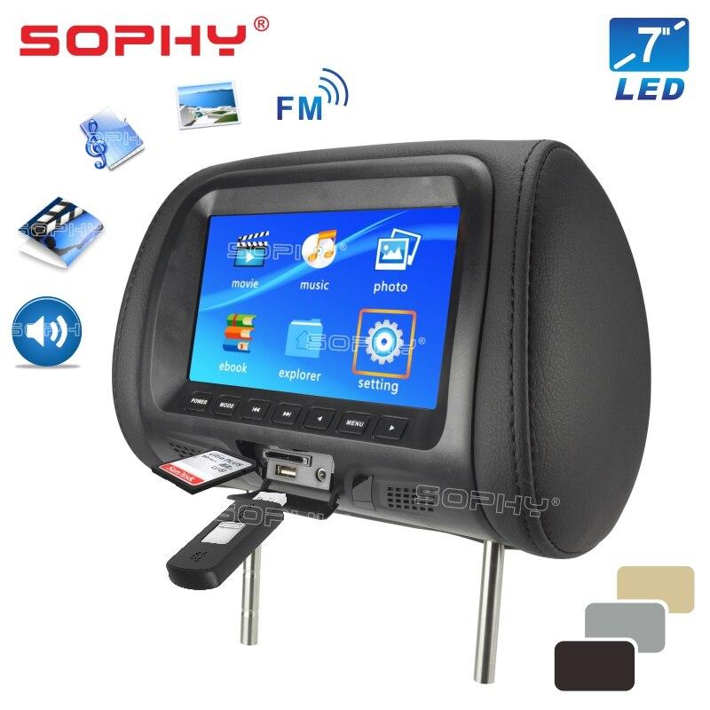 Универсальный автомобильный подголовник 7 дюймов, монитор заднего сиденья, мультимедийный плеер, AV, USB, SD, MP4 title=