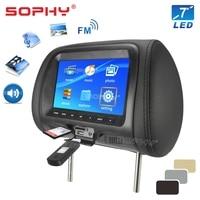 Universal 7 Inci Mobil Monitor Sandaran Kepala Mobil Kursi Belakang Hiburan Multimedia Pemain Umum AV USB SD MP4
