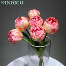 INDIGO-Silk Tulip Bouquet (6stems) Pink Flower Arrangment Wedding Artificial Floral Party Free Shipping