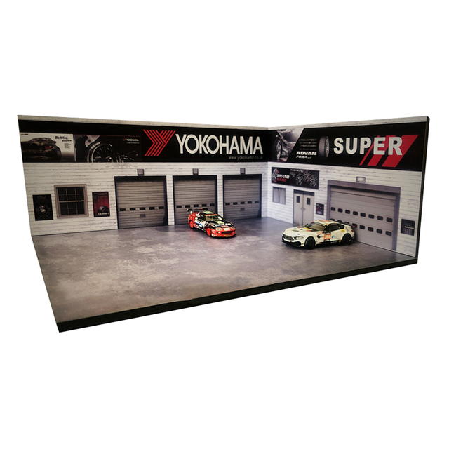 1/64 garage factory warehouse repair house building model F car vehicle toy collection parking lot scene background display show