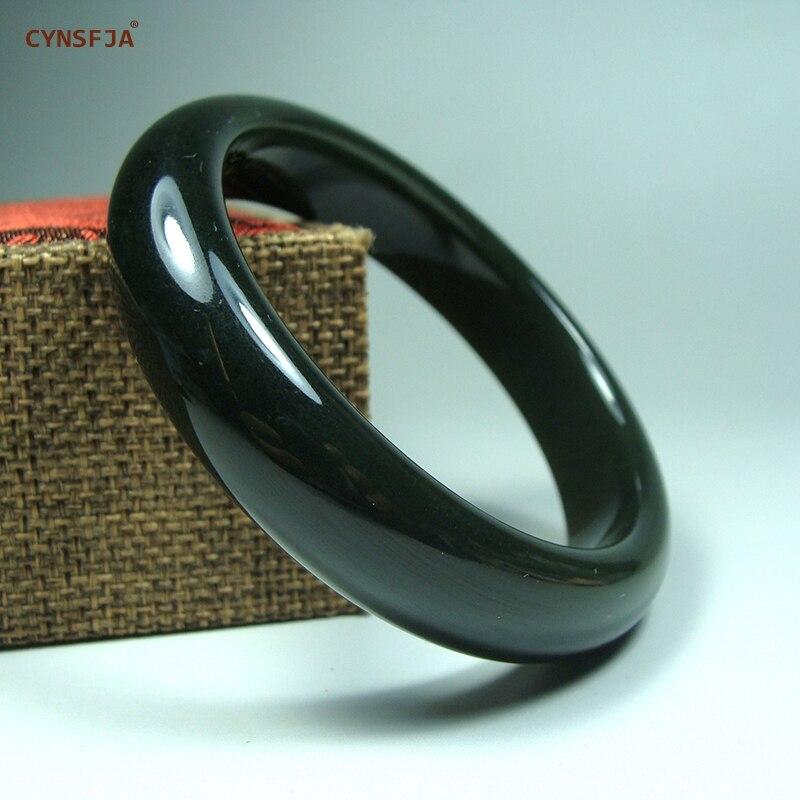 CYNSFJA Real Raro Certificado Natural Hetian Jade Chinês Amuleto Jade Bracelet Bangle Tamanho 56mm das Mulheres Belas Jóias de Alta qualidade Os Melhores Presentes