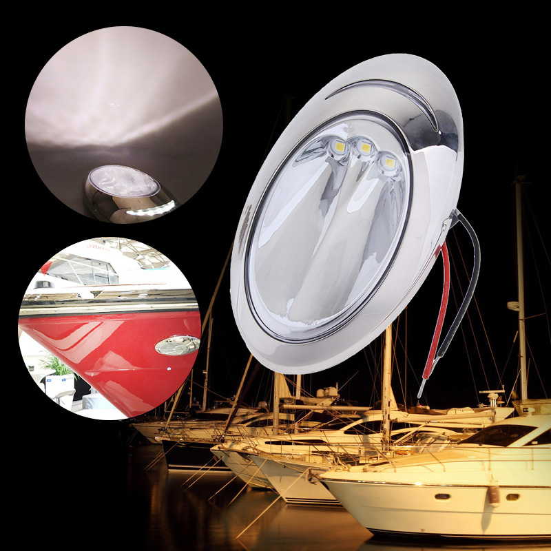 Stainless Steel Boat LED Hull Right Side Surface Mount Docking Lights