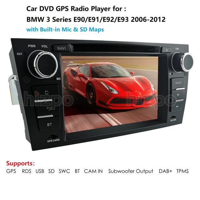 """רכב נגן מולטימדיה עבור BMW E90 E91 E92 E93 סטריאו ראש יחידה 7 """"DVD לרכב נגן GPS Sat Nav רדיו BT USB RDS AM/FM SWC DAB + DVBT"""
