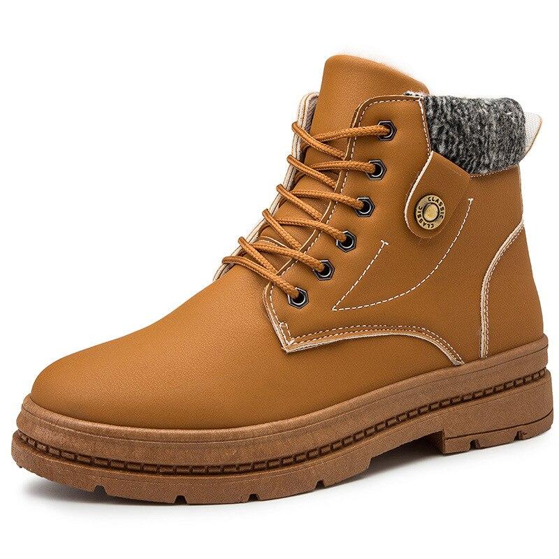 2019 new warm snow boots men's plus velvet men's shoes outdoor cold boots waterproof men's boots high to help cotton boots